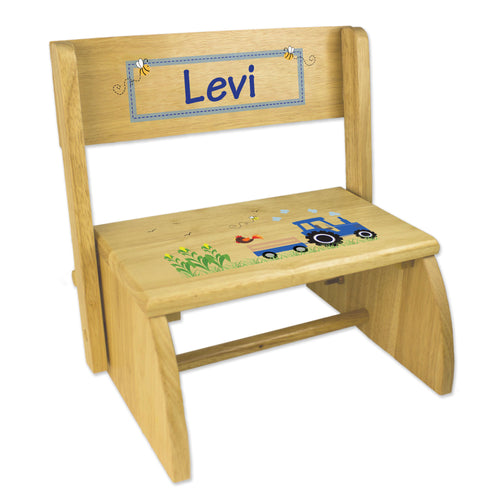 Personalized Natural Flip Stool Blue Tractor Design
