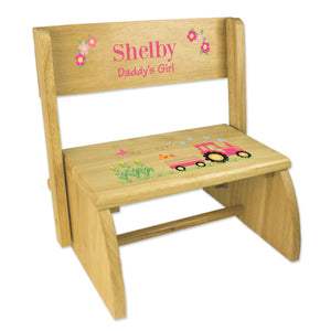 Personalized Natural Flip Stool Pink Tractor Design