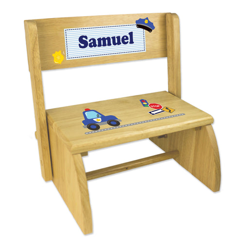 Personalized Police Childrens And Toddlers Wooden Folding Stool