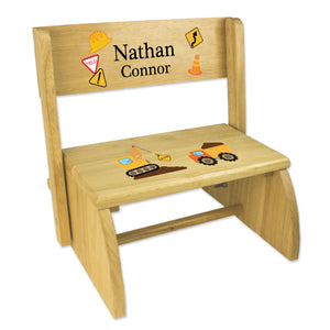 Personalized Construction Childrens And Toddlers Wooden Folding Stool