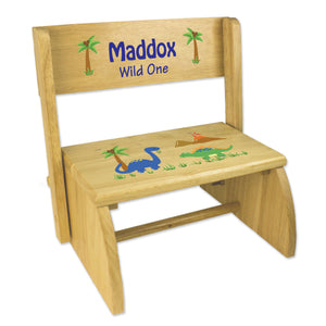 Personalized Dinosaurs Childrens And Toddlers Wooden Folding Stool