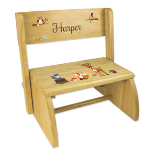 Personalized Green Forest Animal Childrens And Toddlers Wooden Folding Stool