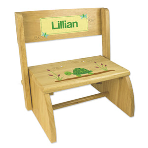 Personalized Turtle Childrens And Toddlers Wooden Folding Stool