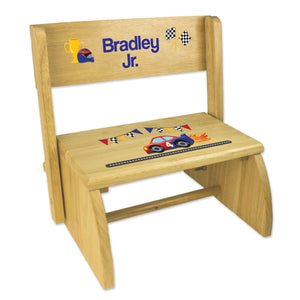 Personalized Race Cars Childrens And Toddlers Wooden Folding Stool