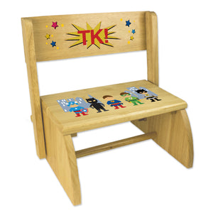 Personalized Boys Super Hero Childrens And Toddlers Wooden Folding Stool