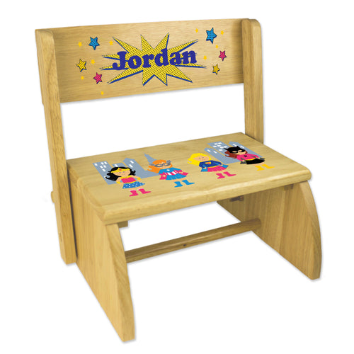 Personalized Girls Superhero Childrens And Toddlers Wooden Folding Stool