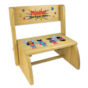 Personalized Childrens Wooden Folding And Flip Stool Super Hero Girl African American