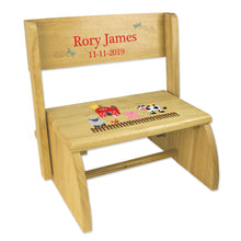 Personalized Barnyard Friends Pastel Childrens And Toddlers Wooden Folding Stool