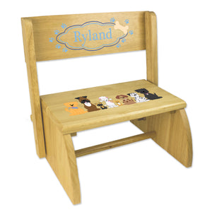 Personalized Blue Dogs Childrens And Toddlers Wooden Folding Stool