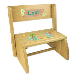 Personalized Childrens Wooden Folding And Flip Stool Surf Decor Theme Beach
