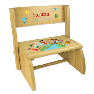 Personalized Small World Natural Flip Stool
