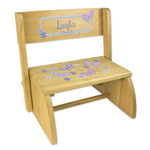 Personalized Natural Flip Stool Lavender Butterflies Design