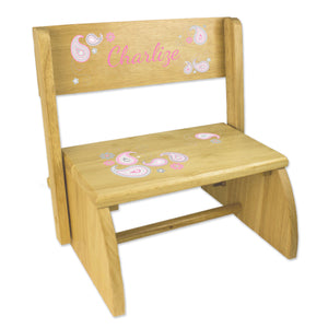 Personalized Paisley Pink Gray Childrens And Toddlers Wooden Folding Stool