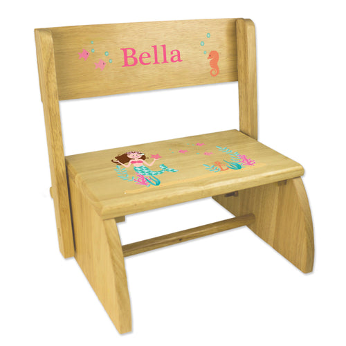 Personalized Brunette Mermaid Princess Childrens And Toddlers Wooden Folding Stool