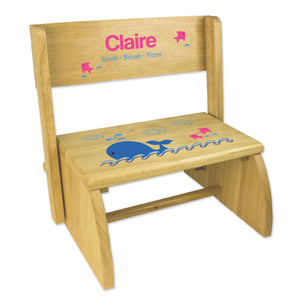 Personalized Pink Whale Natural Flip Stool
