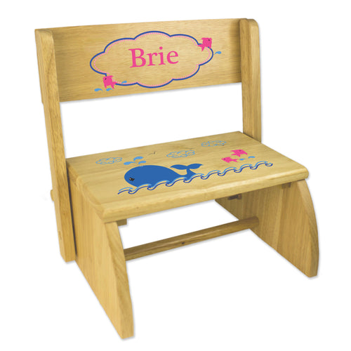 Personalized Pink Whale Childrens And Toddlers Wooden Folding Stool