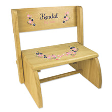 Personalized Navy Pink Floral Garland Natural Flip Stool