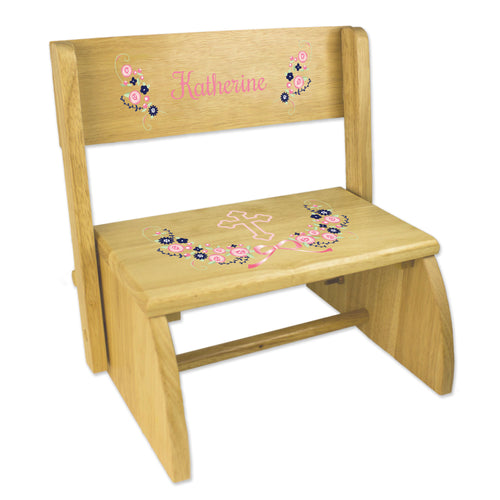 Personalized Holy Cross Navy Pink Floral Garland Childrens Natural Flip Stool