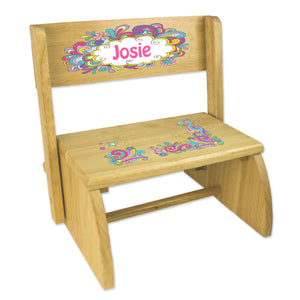 Personalized Groovy Swirl Childrens And Toddlers Wooden Folding Stool