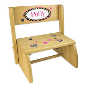 Personalized Groovy Zebra Childrens And Toddlers Wooden Folding Stool