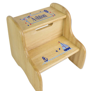 Personalized Boys Sailboat Natural Two Step Stool