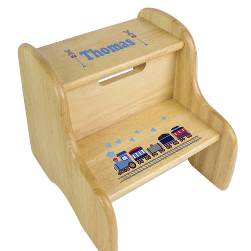 Personalized Wooden Step Stool With Train Design