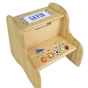 Personalized Wooden Step Stool With Sports Design