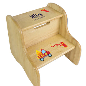 Personalized Boys Fire Truck Natural Step Stool