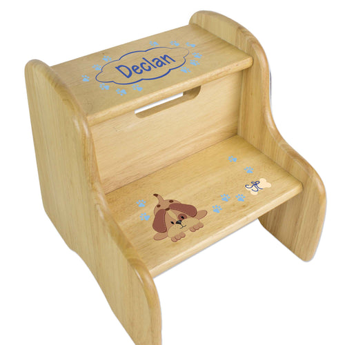 Personalized Blue Puppy Natural Two Step Stool
