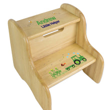 Personalized Green Tractor Natural Two Step Stool