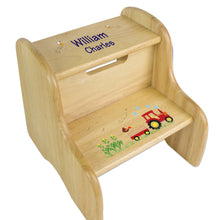 Personalized Red Tractor Natural Two Step Stool