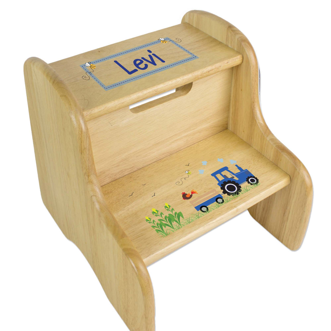 Personalized Natural Two Step Stool With Blue Tractor Design