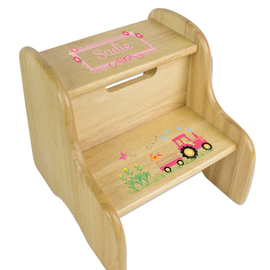 Personalized Natural Two Step Stool With Pink Tractor Design