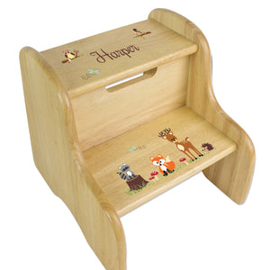Personalized Wooden Step Stool With Green Forest Animal Design