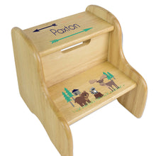 Personalized Boys Northwoods Animal Natural Step Stool