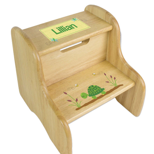 Personalized Turtle Natural Two Step Stool