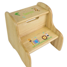 Personalized Wooden Step Stool With Jungle Animals Boy Design