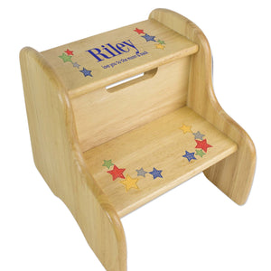 Personalized Stitched Stars Natural Two Step Stool