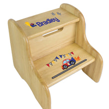 Personalized Race Cars Natural Two Step Stool