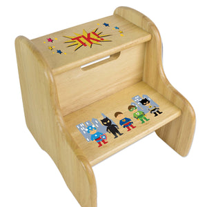 Personalized Boys Super Hero Natural Two Step Stool