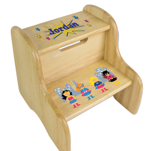 Personalized Girls Superhero Natural Two Step Stool