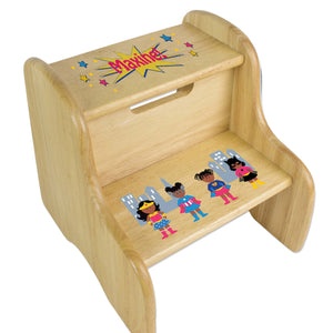 Personalized Wooden Step Stool With Super Hero Girl African American Design
