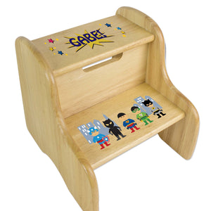 Personalized Superhero Asian Natural Two Step Stool