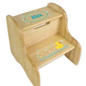 Personalized Rubber Ducky Natural Two Step Stool