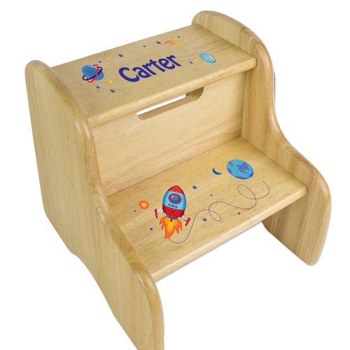 Personalized Rocket Natural Two Step Stool
