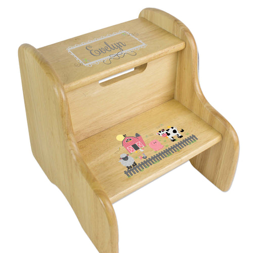 Personalized Barnyard Friends Natural Two Step Stool