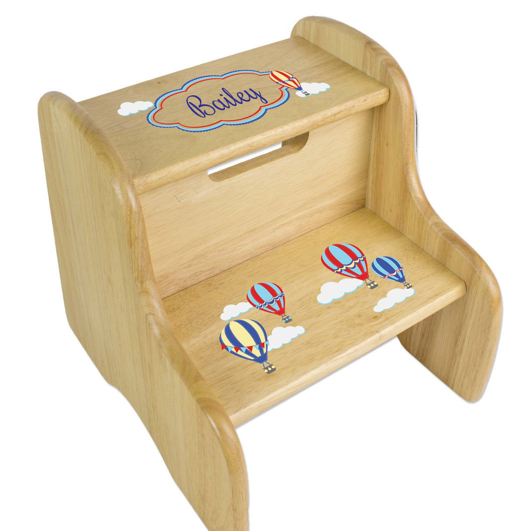 Personalized Hot Air Balloon Primary Natural Two Step Stool