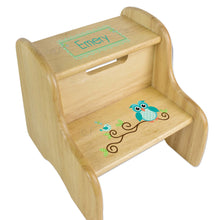 Personalized Blue Gingham Owl Natural Two Step Stool