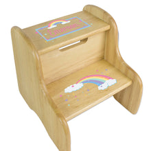 Personalized Natural Two Step Stool With Pastel Rainbow Design