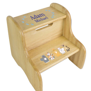 Blue Cats Natural Wood Two Step Stool